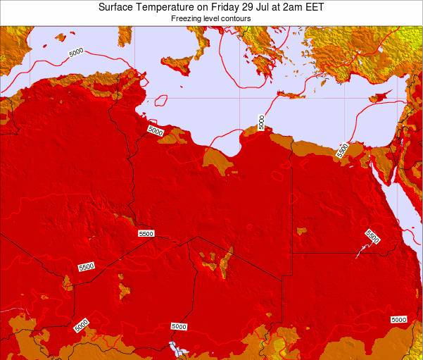 Libya Surface Temperature on Tuesday 08 Sep at 8am EET