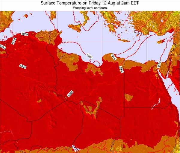 Libya Surface Temperature on Wednesday 30 Jul at 2pm CEST