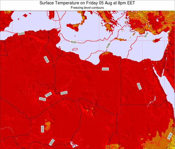 Libya Surface Temperature on Thursday 06 Aug at 2am EET