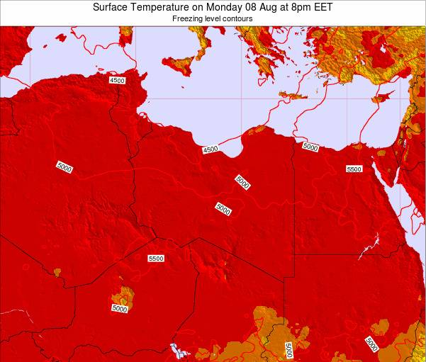 Libya Surface Temperature on Saturday 15 Mar at 7am CET