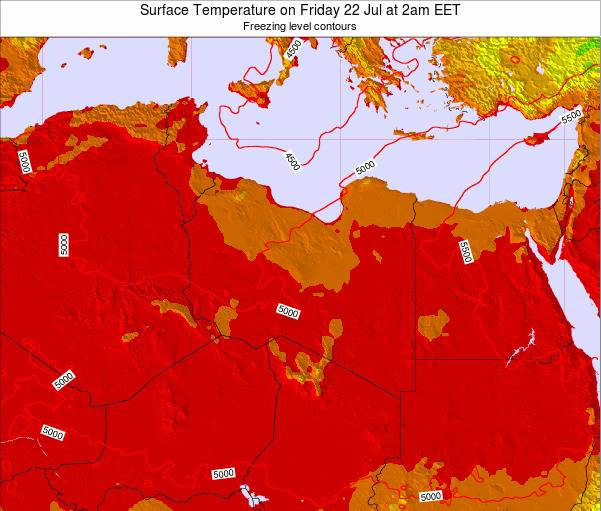 Libya Surface Temperature on Friday 25 Apr at 2pm CEST