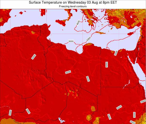 Libya Surface Temperature on Sunday 02 Oct at 8am EET