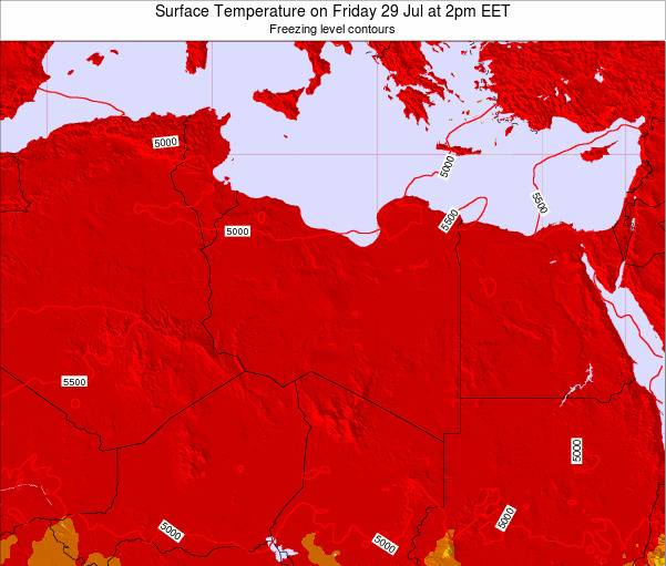 Libya Surface Temperature on Thursday 24 Aug at 8am EET
