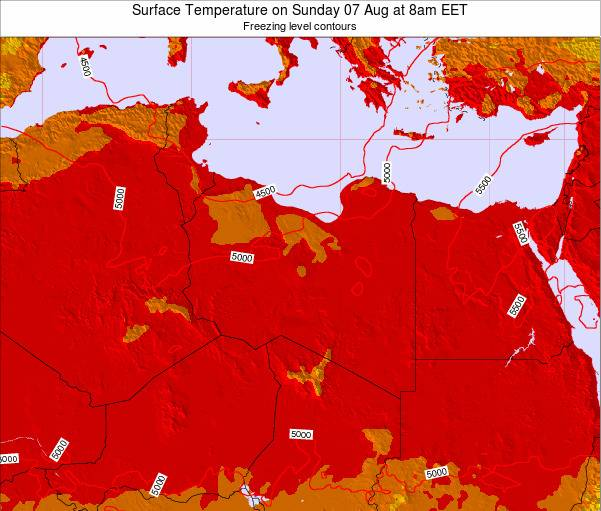 Libya Surface Temperature on Monday 28 Apr at 2pm CEST