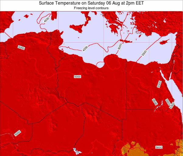 Libya Surface Temperature on Friday 24 May at 2pm EET