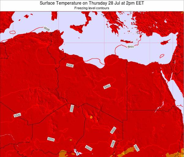 Libya Surface Temperature on Sunday 03 Aug at 2pm CEST