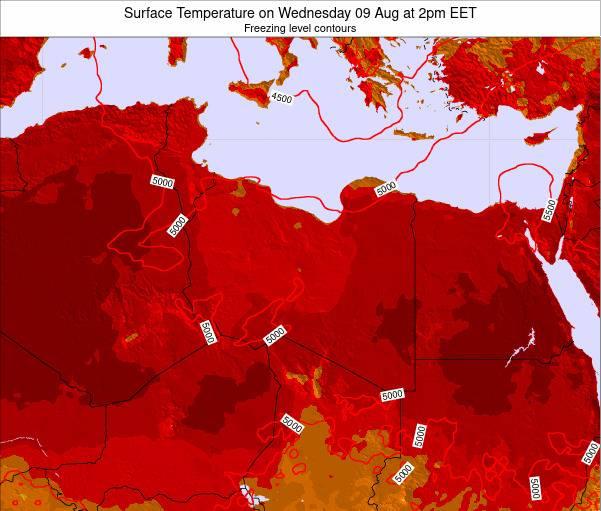Libya Surface Temperature on Friday 22 Jun at 8pm EET map
