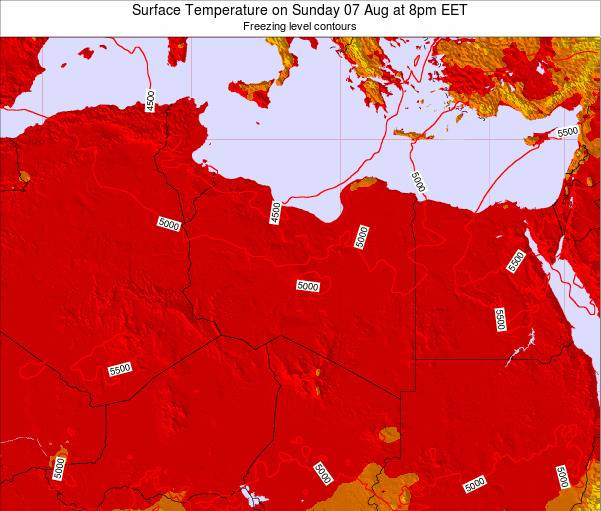 Libya Surface Temperature on Monday 18 Dec at 2am EET map