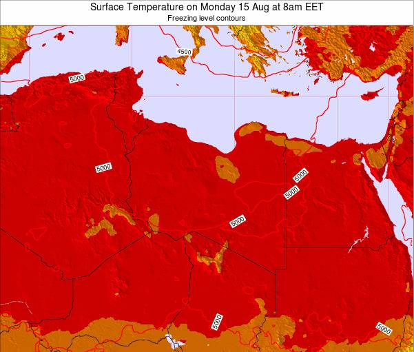 Libya Surface Temperature on Tuesday 28 May at 2pm EET