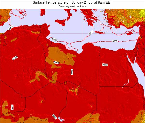Libya Surface Temperature on Tuesday 23 Oct at 8am EET map