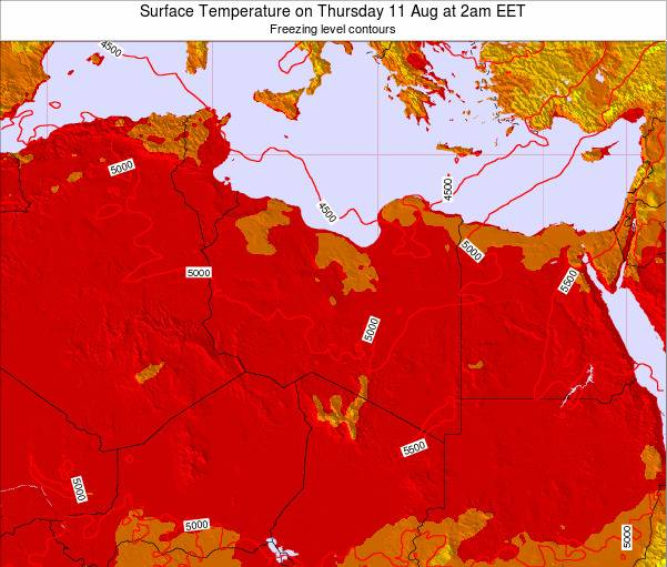 Libya Surface Temperature on Wednesday 22 Aug at 2am EET map
