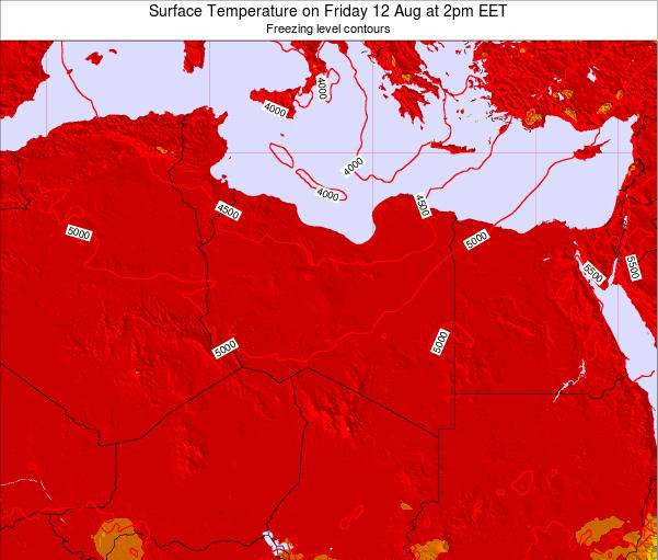 Libya Surface Temperature on Monday 24 Jun at 8am EET