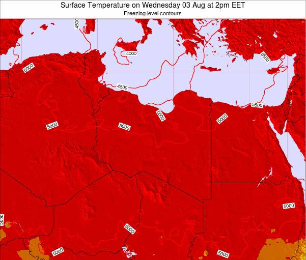 Libya Surface Temperature on Sunday 24 Jun at 8am EET map