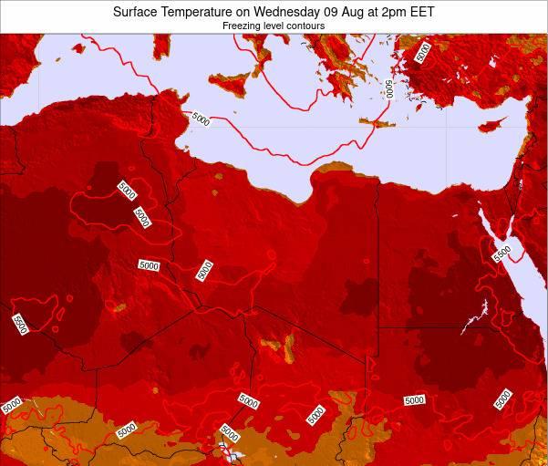 Libya Surface Temperature on Tuesday 29 Jan at 8pm EET map