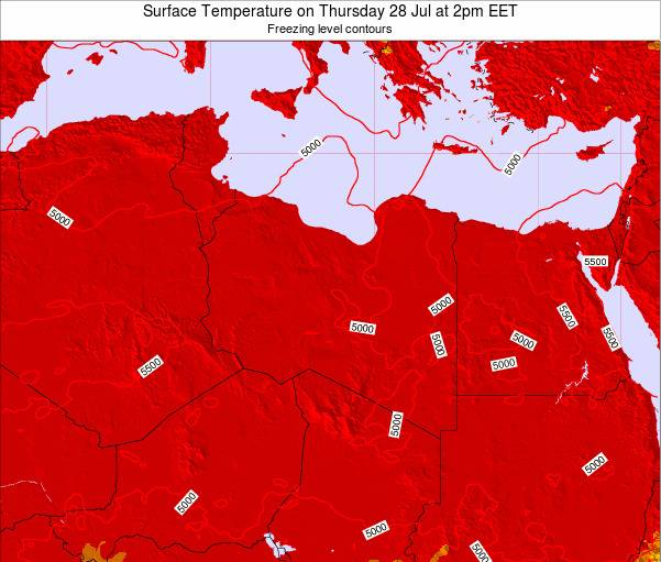 Libya Surface Temperature on Friday 20 Apr at 2pm EET map