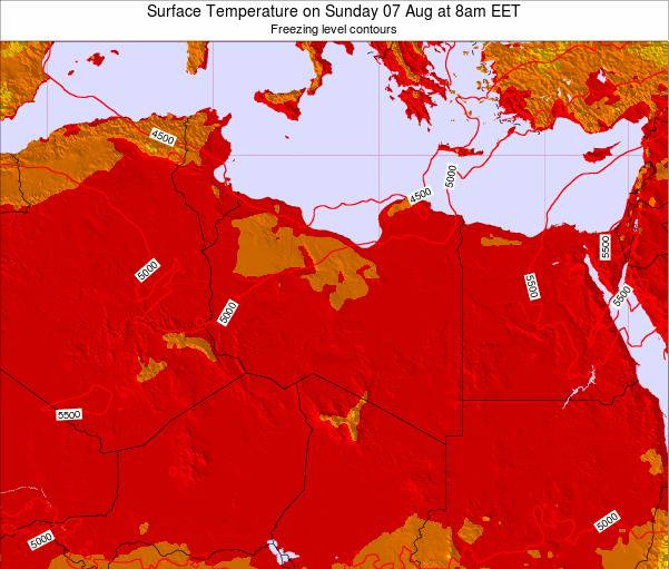 Libya Surface Temperature on Thursday 24 Jan at 2pm EET map