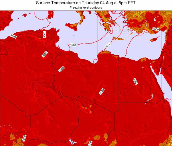 Libya Surface Temperature on Saturday 18 Apr at 2pm CEST