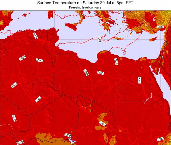 Libya Surface Temperature on Tuesday 11 Mar at 7pm CET