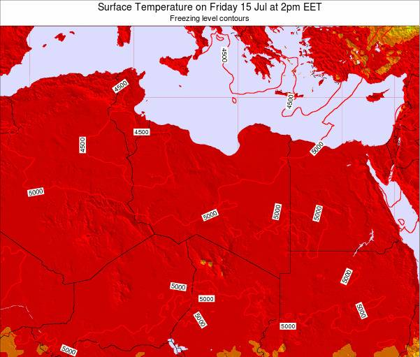 Libya Surface Temperature on Thursday 18 Oct at 2pm EET map