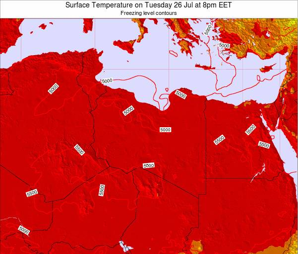 Libya Surface Temperature on Saturday 25 May at 2pm EET