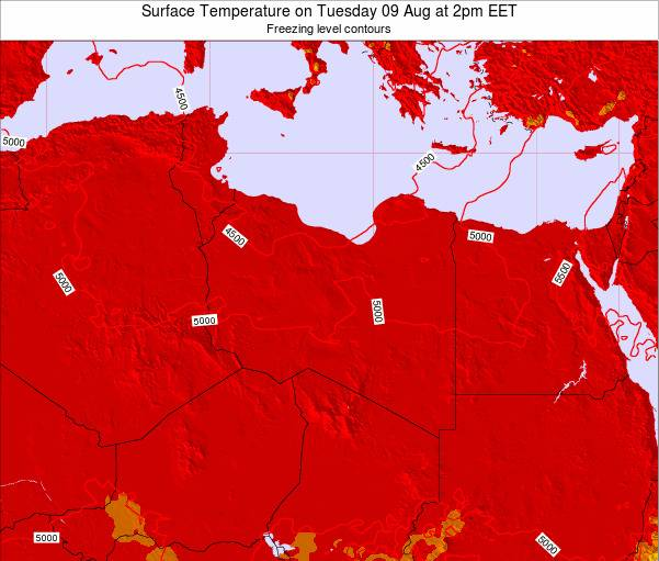 Libya Surface Temperature on Saturday 26 Jan at 8am EET map