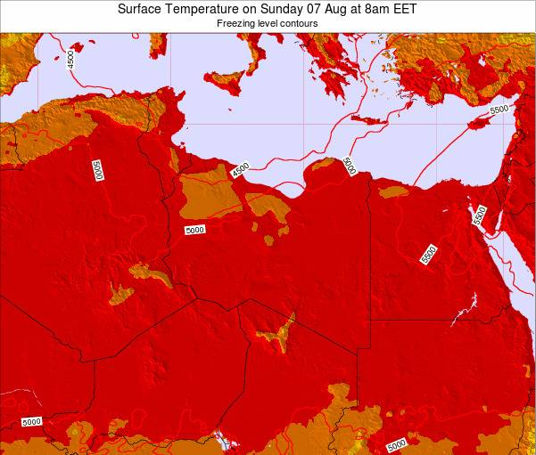 Libya Surface Temperature on Sunday 16 Dec at 8pm EET map