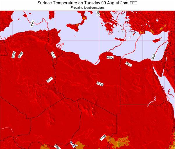 Libya Surface Temperature on Thursday 22 Mar at 2pm EET map
