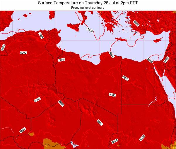 Libya Surface Temperature on Thursday 21 Jun at 2pm EET map