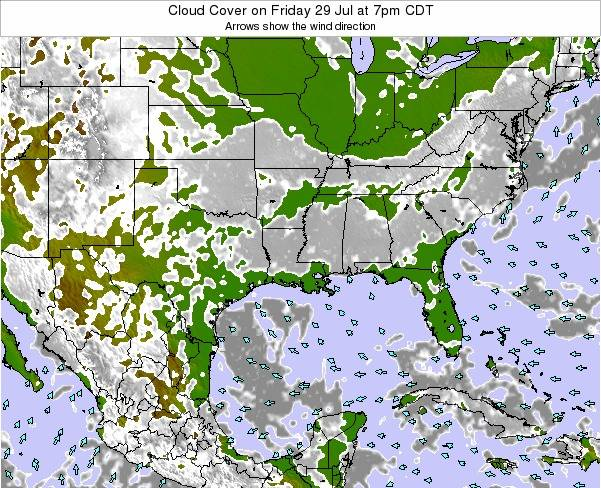 Arkansas Cloud Cover on Wednesday 26 Jun at 7am CDT map