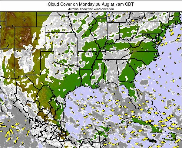Arkansas Cloud Cover on Friday 24 May at 7pm CDT map