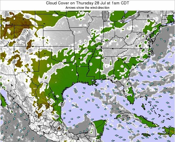 Louisiana Cloud Cover on Thursday 23 May at 7am CDT