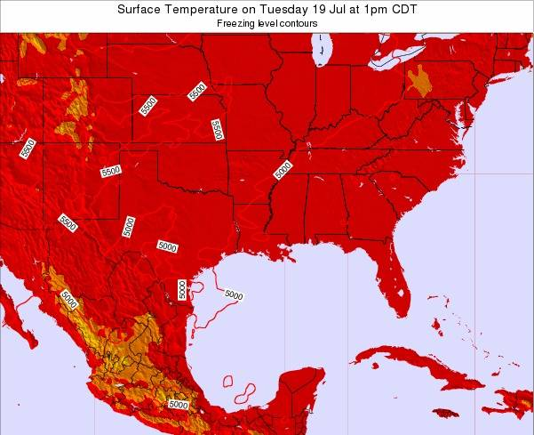 Louisiana Surface Temperature on Sunday 16 Dec at 12am CST map