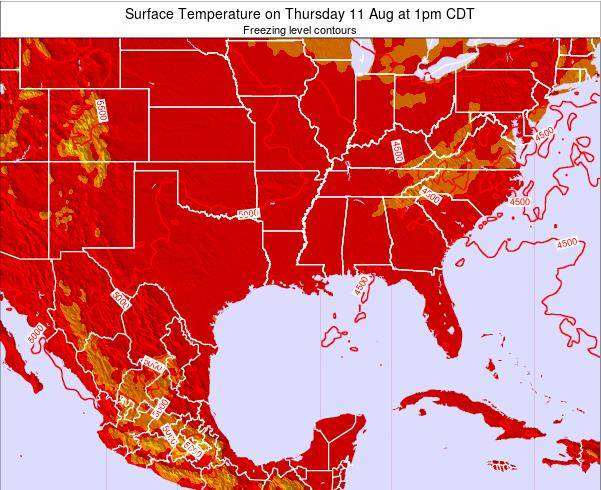 Louisiana Surface Temperature on Sunday 25 Mar at 7pm CDT map