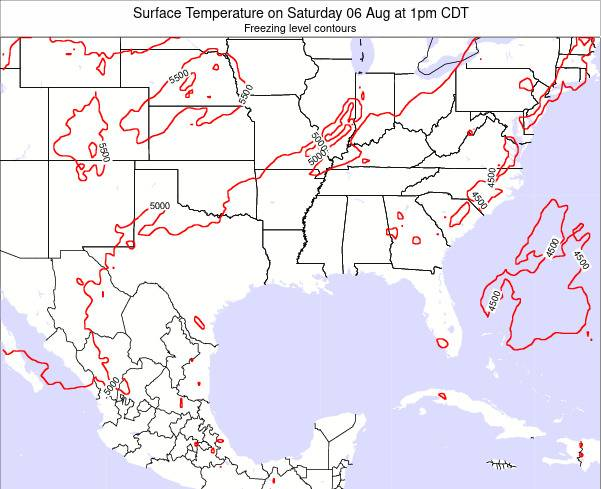 Louisiana Surface Temperature on Monday 29 May at 1pm CDT