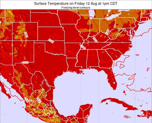 Louisiana Surface Temperature on Wednesday 27 Jun at 7am CDT map