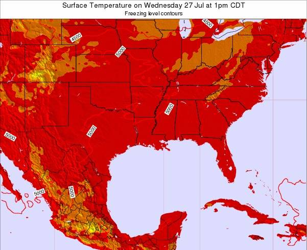 Louisiana Surface Temperature on Saturday 24 Mar at 1am CDT map