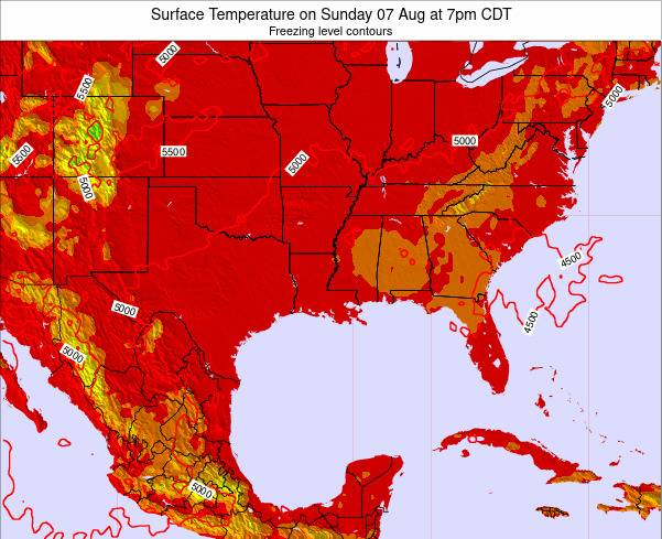 Louisiana Surface Temperature on Sunday 23 Dec at 12am CST map