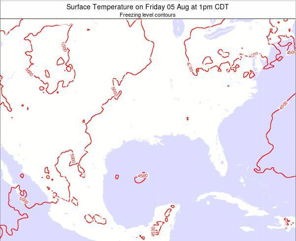 Arkansas Surface Temperature on Thursday 24 Apr at 1am CDT map