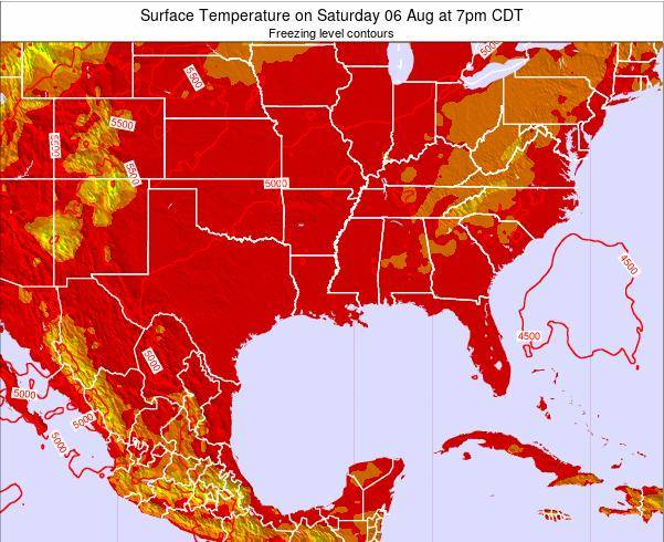 Arkansas Surface Temperature on Friday 25 Jul at 1pm CDT map