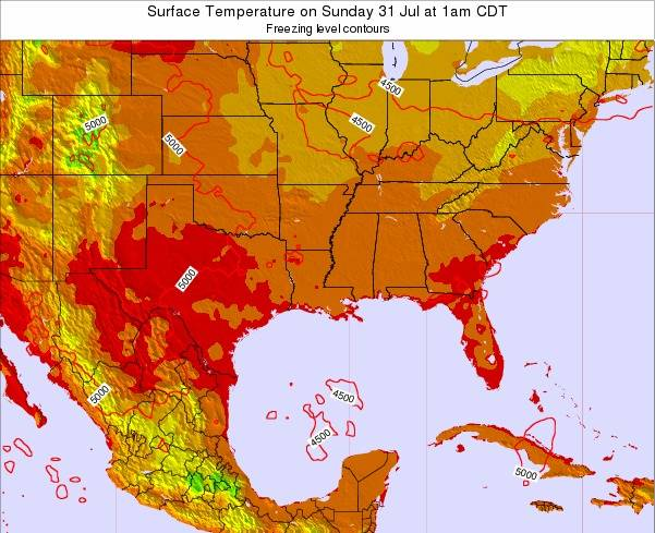 Louisiana Surface Temperature on Thursday 27 Sep at 7am CDT map
