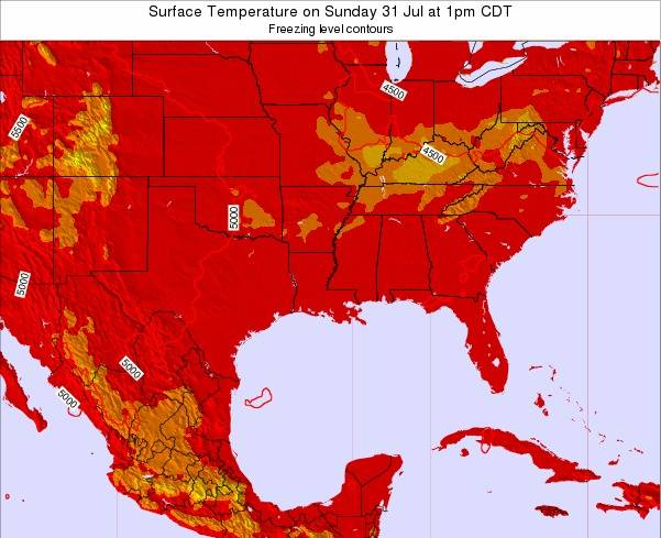 Louisiana Surface Temperature on Thursday 13 Dec at 6am CST map