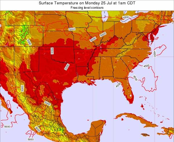 Arkansas Surface Temperature on Tuesday 21 May at 7am CDT map