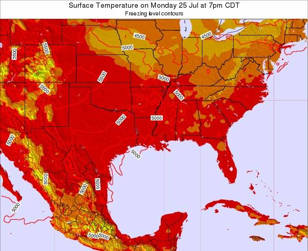 Louisiana Surface Temperature on Friday 21 Sep at 7am CDT map