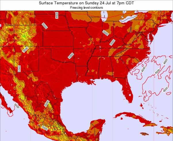 Louisiana Surface Temperature on Sunday 21 Dec at 6am CST