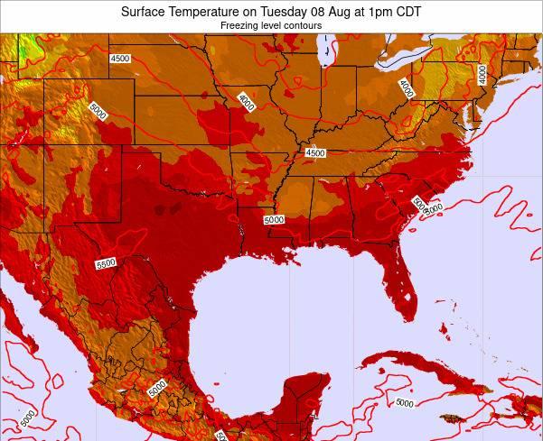 Louisiana Surface Temperature on Friday 22 Jun at 1pm CDT map