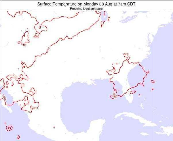Arkansas Surface Temperature on Wednesday 22 May at 1am CDT map