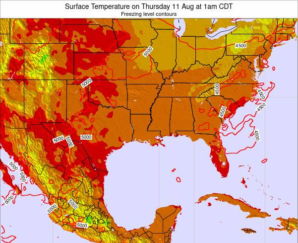 Louisiana Surface Temperature on Sunday 25 Mar at 1pm CDT map