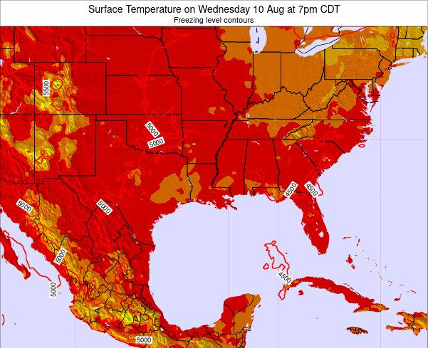Louisiana Surface Temperature on Monday 30 Apr at 1am CDT map