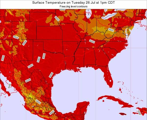 Louisiana Surface Temperature on Thursday 19 Jul at 1pm CDT map