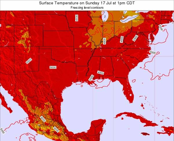 Louisiana Surface Temperature on Thursday 22 Mar at 1am CDT map